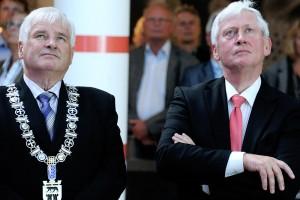 Stolt øyeblikk 30.8.2011. Åpning av INSPIRIA. Ordfører i Sarpsborg, Jan Engsmyr til venstre. Inspirias styreleder Osmund Ueland til høyre.